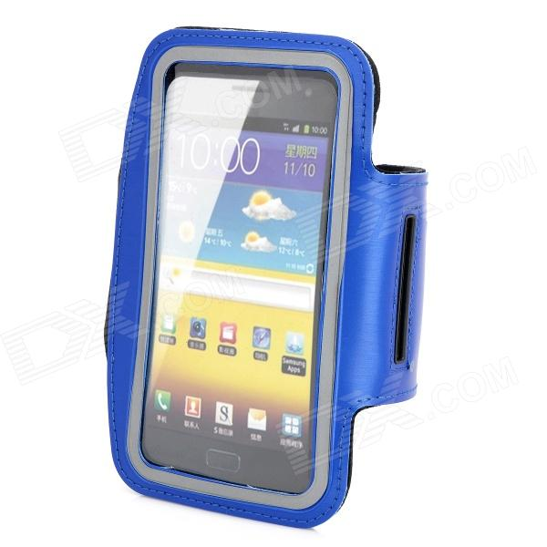 Outdoor Sports Armband for Samsung Galaxy Note 2 N7100 - Blue - DXArmbands &amp; Wristbands<br>Quantity 1 Piece Color Blue Material PU + neoprene Band Length 43cm Compatible Models Samsung Galaxy Note 2 N7100 Other Features You can run ride lift and more without missing a second of your favorite music; Wrap the band around your arm or wrist and secure the adjustable strap Packing List 1 x Armband<br>