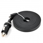 Car Charger + Micro USB Male to USB Male Flat Data Charging Cable Set - Black