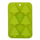 Creative Christmas Tree Shaped 6-Cup Silicone DIY Mold for Cake / Chocolate / Pudding - Green