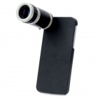 8X Zoom Telescope Lens with Protective Back Case for iPhone 5 - Black + Silver
