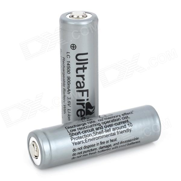 UltraFire Rechargeable 900mAh 14500 Li-ion Batteries w/ PCB Protected Board - Grey (2 PCS) trustfire protected 14500 3 7v 900mah rechargeable lithium batteries 2 pack