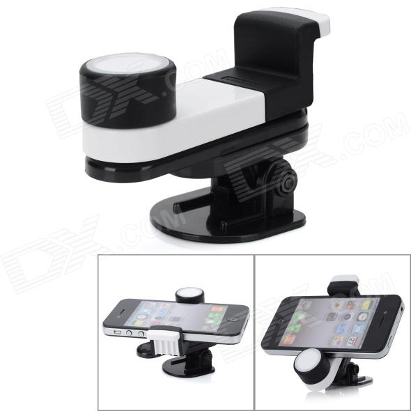 360 Degree Rotational Car Mount Cell Phone Holder - White + Black 360 degree rotational car mount cell phone holder white black