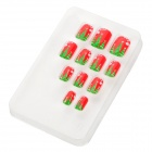 Christmas Tree Style Nail Art Decorative Artificial Nail Tips - Red + Green (12 PCS)