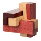 Educational 3D Interlock Wood Brain Teaser Toy - Brown + Wood Color