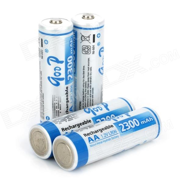 Rechargeable AA Ni-MH 2300mAh Batteries Set - White + Blue (4 PCS) 8pcs pkcell battery aaa pre charged nimh 1 2v 1200mah ni mh 3a rechargeable batteries up to 1000mah capacity cycle 1200times
