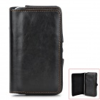 Protective PU Leather Case w/ Waist Clip for Samsung Galaxy Note 2 N7100 - Black