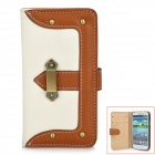 Protective PU Leather Case for Samsung i9300 Galaxy S3 - White + Brown