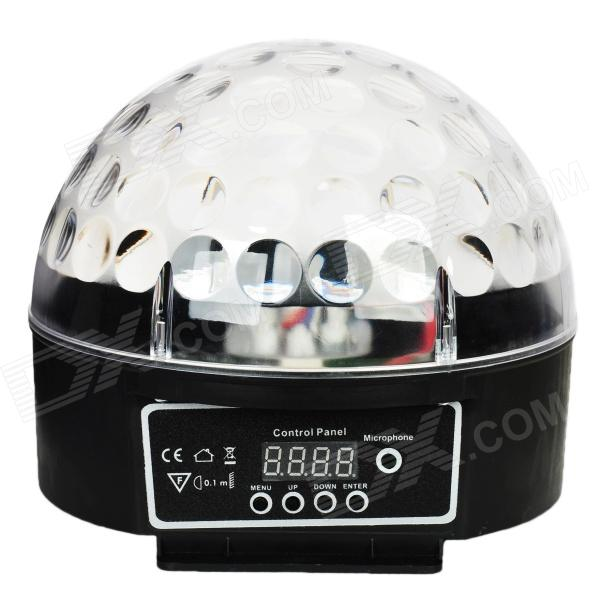 WTD-2 Sound Control 3W 9-Mode RGB 6-LED Crystal Magic Ball Light - Transparent + Black