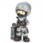 TG034 Creative CS Soldier Synthetic Resin Pen Holder Container - Black + Grey
