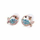 MaDouGongZhu R059-5 Cute Fish Style Fashionable Lady's Ear Studs - Blue (Pair)