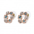 MaDouGongZhu R119-6 Flower Style Lady's Fashionable Ear Studs - Golden + Blue (Pair)