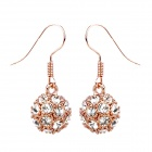 MaDouGongZhu R092-8 Ball Style with Rhinestone Lady's Ear Studs - Golden + White (Pair)