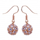 MaDouGongZhu R092-9 Allergy Free Charming Rhinestone Ball Earrings - Golden + Purple (Pair)