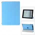 Hotsion ID-01 Protective 4-Section Folding PU Leather Case for iPad 2 / New iPad / 4 - Blue