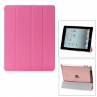 Hotsion Id-01 Protective PU Leather Smart Cover w/ Back Case for iPad 2 / The New iPad - Pink