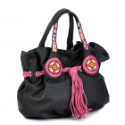 VEMO Ethnic Style PU Leather Lady's Hand Bag - Black + Deep Pink