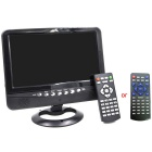 PTV902 Portable 9&quot; LCD TV Player w/ FM / SD Card / USB / Car Charger - Black + Silver (640 x 234)