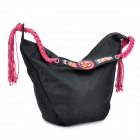VEMO Ethnic Style PU Leather Lady's Shoulder Bag - Black + Purple