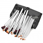 Professional 24-in-1 Cosmetic Makeup Brushes Set w/ PU Leather Case - Silver