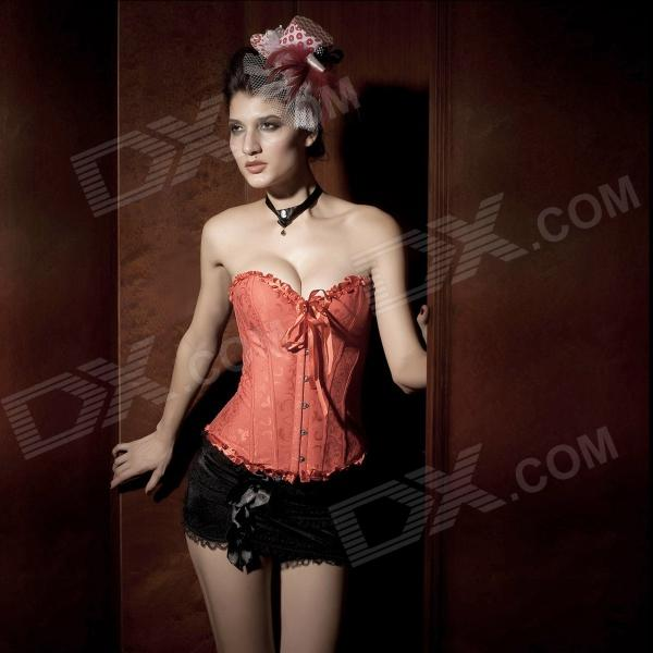5085 Satin Strapless Front Busk Closure Corsets Shapewear for Women - Red (M-Size)