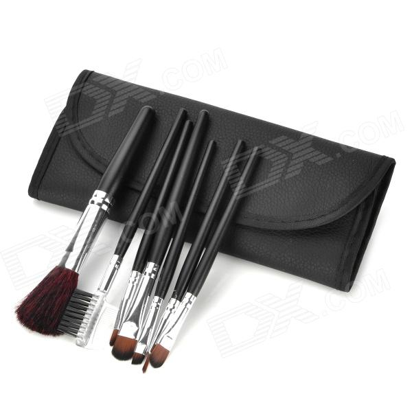 Professional Cosmetic Makeup Brushes Set w/ Carrying Bag - Black + Silver (7PCS) 7pcs makeup brushes professional fashion mermaid makeup brush synthetic hair eyebrow eyeliner blush cosmetic