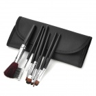 Professional Cosmetic Makeup Brushes Set w/ Carrying Bag - Black + Silver (7PCS)