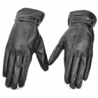 Fashion Sheepskin + Plush Lining Full Finger Warmer Gloves - Black (Pair / Size L)