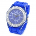SANDA SD-1015DB Lady's Rubber Band Rhinestone Quartz Analog Wrist Watch - Blue (1 x LR626)