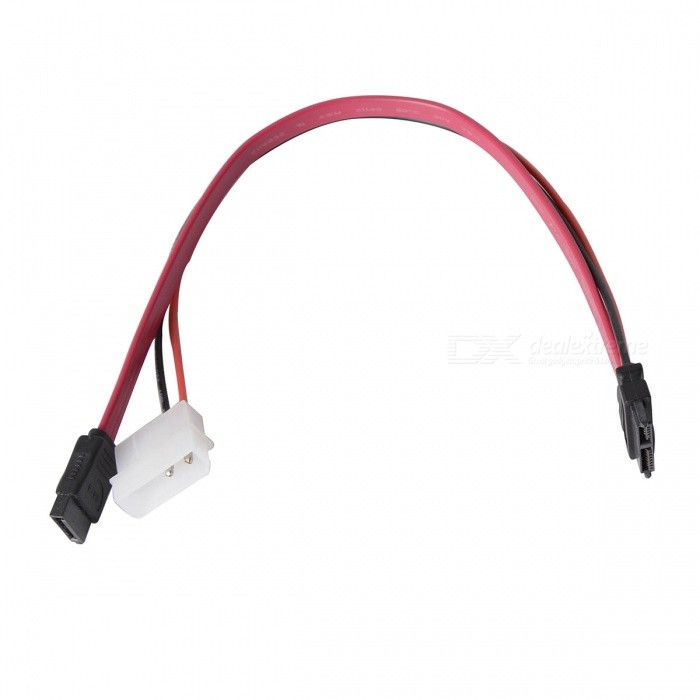 mini SATA (7+6pin) to SATA SSD Data Cable w/ Power Cable - Black + Red (20cm)