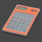 "MX-188 Ultra-Thin Solar Powered 1.4"" LCD Touch Screen 8-Digit Transparent Pocket Calculator - Orange"