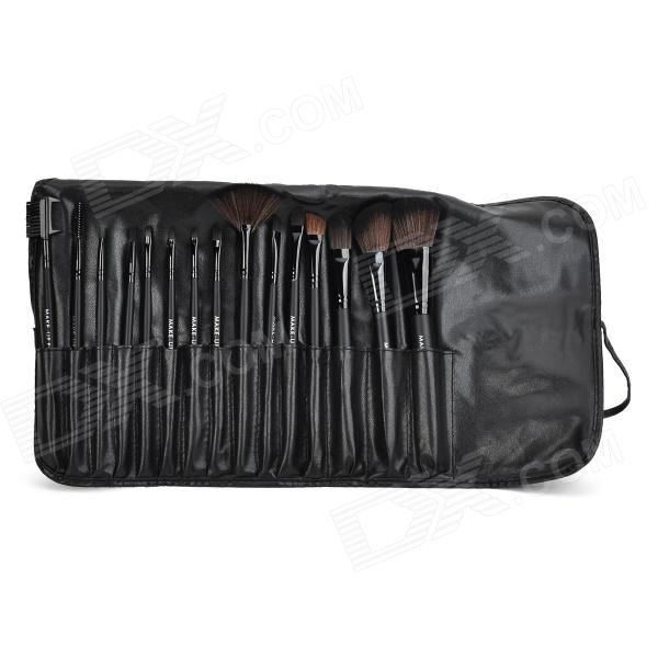 Professional Cosmetic Makeup Brushes Set w/ Carrying Bag - Black (15PCS)