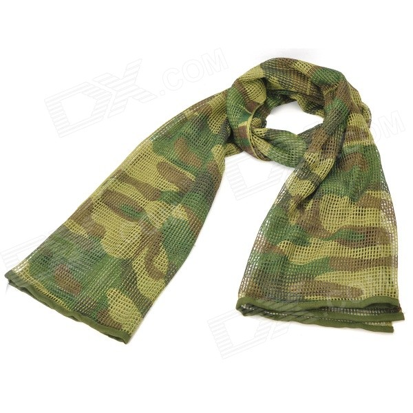Fishnet Shaped Outdoor Sports Cotton + Nylon Sunlight Resistant Scarf - Dark Oliver Green