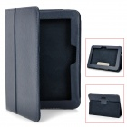 Lychee Pattern Protective PU Leather Case w/ Stand for Kindle Fire HD - Indigo