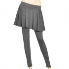 Woman's A Type Casual Cotton Full Length Legging Tights Skirt Pants - Grey
