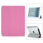 Protective PU + Aluminum Alloy Folding Smart Cover for iPad 2 / the New iPad - Deep Pink