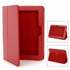 Lychee Pattern Protective PU Leather Case w/ Stand for Kindle Fire HD - Red