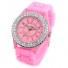 SANDA SD-1013P Lady's Rubber Band Rhinestone Quartz Analog Wrist Watch - Pink (1 x LR626)
