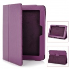 Lychee Pattern Protective PU Leather Case w/ Stand for Kindle Fire HD - Red Lilac