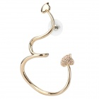 Elegant Heart Pattern Copper Alloy + Rhinestone Earring for Woman - Golden