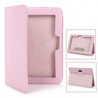 Lychee Pattern Protective PU Leather Case w/ Stand for Kindle Fire HD - Light Pink