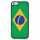Brazilian Flag Pattern Protective Plastic Back Case w/ Shimmering Powder for Iphone 5 -Green