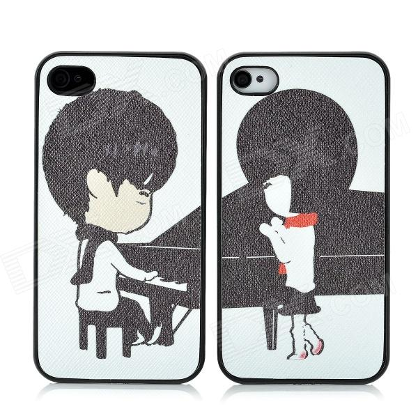 Playing Piano Lovers Pattern Protective Plastic Back Case for Iphone 4 / 4S - Black + White