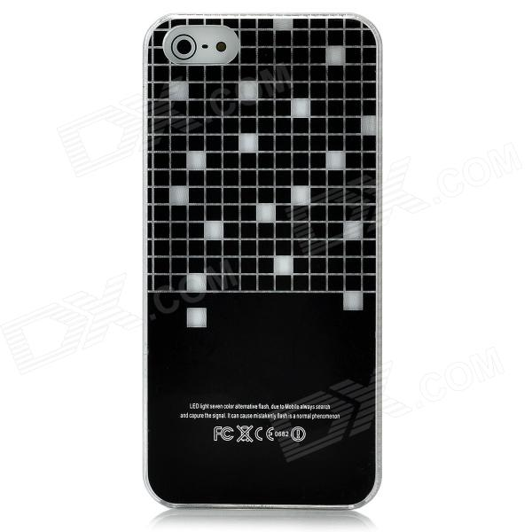 Half Checked Pattern Flashing Protective ABS Back Case for Iphone 5 - Black + White (1 x CR2016) snake pattern protective leather abs back case for iphone 5 5s white black