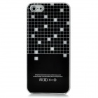 Half Checked Pattern Flashing Protective ABS Back Case for iPhone 5 - Black + White (1 x CR2016)