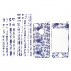 Carbon Fiber Blue and White Porcelain Full Housing Decoration Paper Sticker for iPhone 4 / 4S