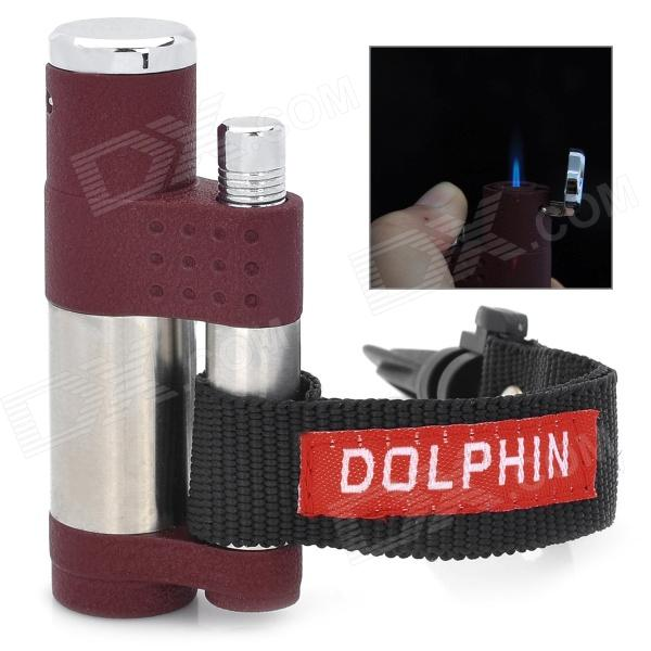 HY069 Butane Jet Lighter w/ Mountaineering Buckle - Wine Red + Silver