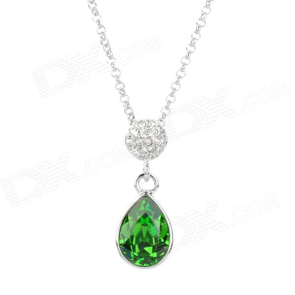 Water Drop Shaped Rhinestone Pendant Tin Alloy Chain Necklace - Silver + Green colorful square skull pattern decorative pillowcase without pillow inner