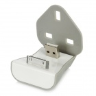 USB Male to 30 Pin Male UK Plug Adapter Stand Charging Dock for iPhone 4 / 4S - White + Grey