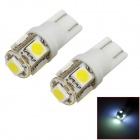 T10 / T13 1.5W 115lm 5-5050 SMD LED White Light Motorcycle Instrument Lamp (12V / 2 PCS)