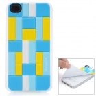 iEasypatch 3D Geometric Pattern Soft Foam Back Sticker for iPhone 4 / 4S - Yellow + Blue + White